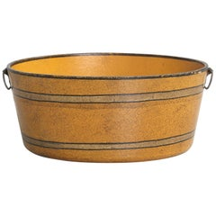 Antique French Paper-Mâché Bucket in a Beautiful Ochre Color