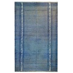 Gorgeous Vintage Blue and White Yadz Kilim Rug