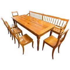 19 Century Biedermeier Farmhouse Set of Table, Bench & Five Chairs, Solid Cherry
