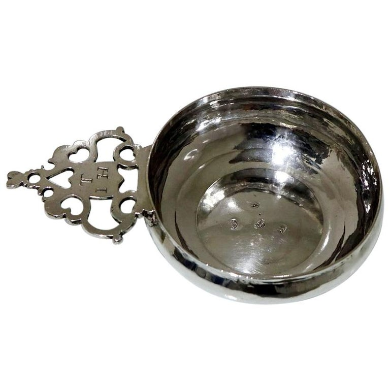 17th Century Antique William & Mary Sterling Silver Bleeding Bowl, London, 1693 For Sale