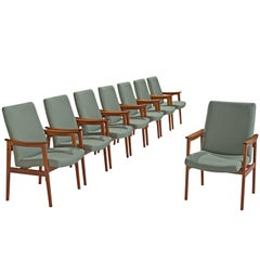 Set of Eight High Back Armchairs in Teak and Mint Green Fabric