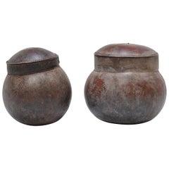 Pair of Senufo Lidded Gourd Vessels
