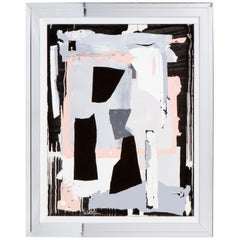 Contemporary Abstract Painting in Black, Grey and Pink