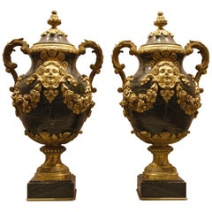 Pair of French Louis XVI Style Granite Covered Vases
