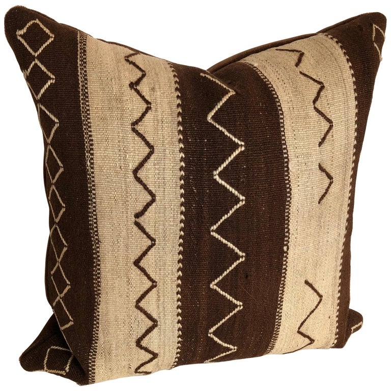 Custom Pillow by Maison Suzanne,  Cut from a Vintage Moroccan Wool Ourika Rug For Sale