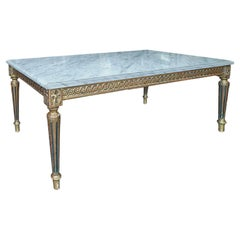 French 1930s Louis XVI Style Coffee Table with Marble Top