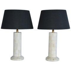 Midcentury Style Column Shape Bone Mosaic Lamps
