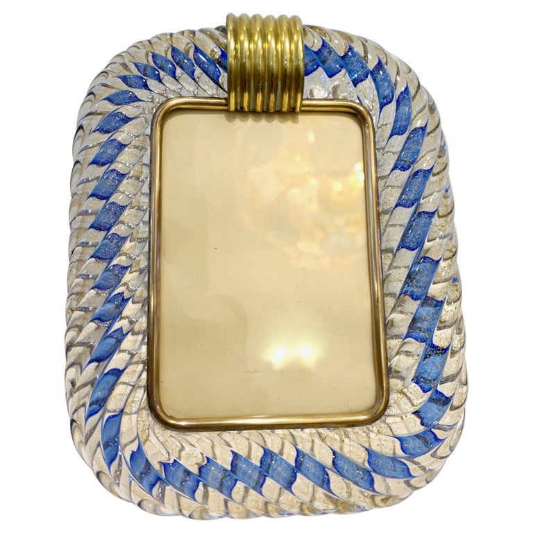 Barovier Toso 1970s Vintage Navy Blue and Gold Murano Glass Photo Frame For Sale