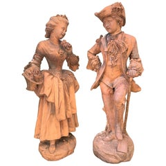 18th Century French Terracotta Figurative Sculptures, Pair