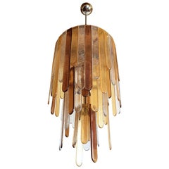 Large Murano Glass Mid-Century Modern Dramatic Chandelier, by Mazzega