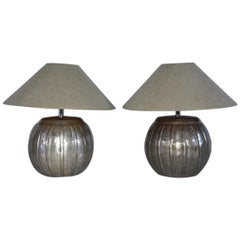 Mellon Shape Silver Toned Metal Lamps