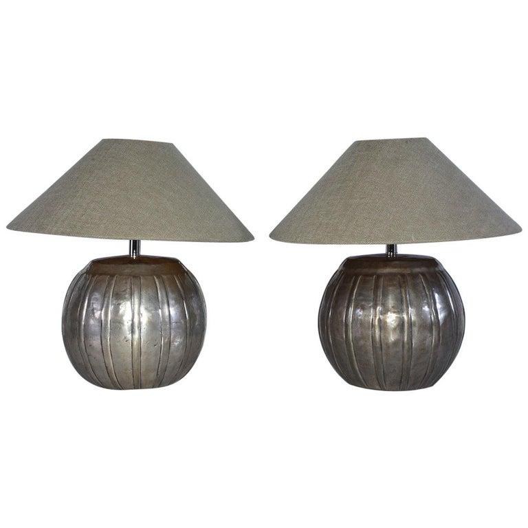 Mellon Shape Silver Toned Metal Lamps For Sale