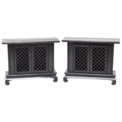 Pair of 20th Century Chinese Low Lattice Front Cabinets