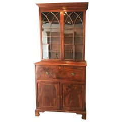 Neo-Gothic Early 19th Century Classical English Regency Bookcase Secretary Desk