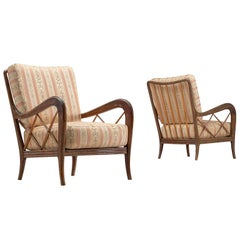 Italian Easy Chairs with Classic Upholstery, circa 1960