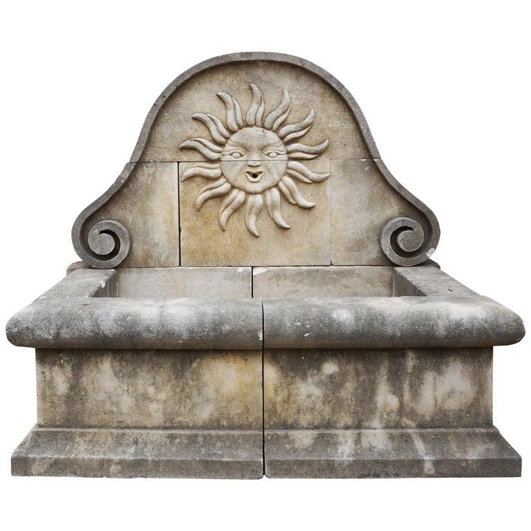 Limestone Sun Wall Fountain For Sale
