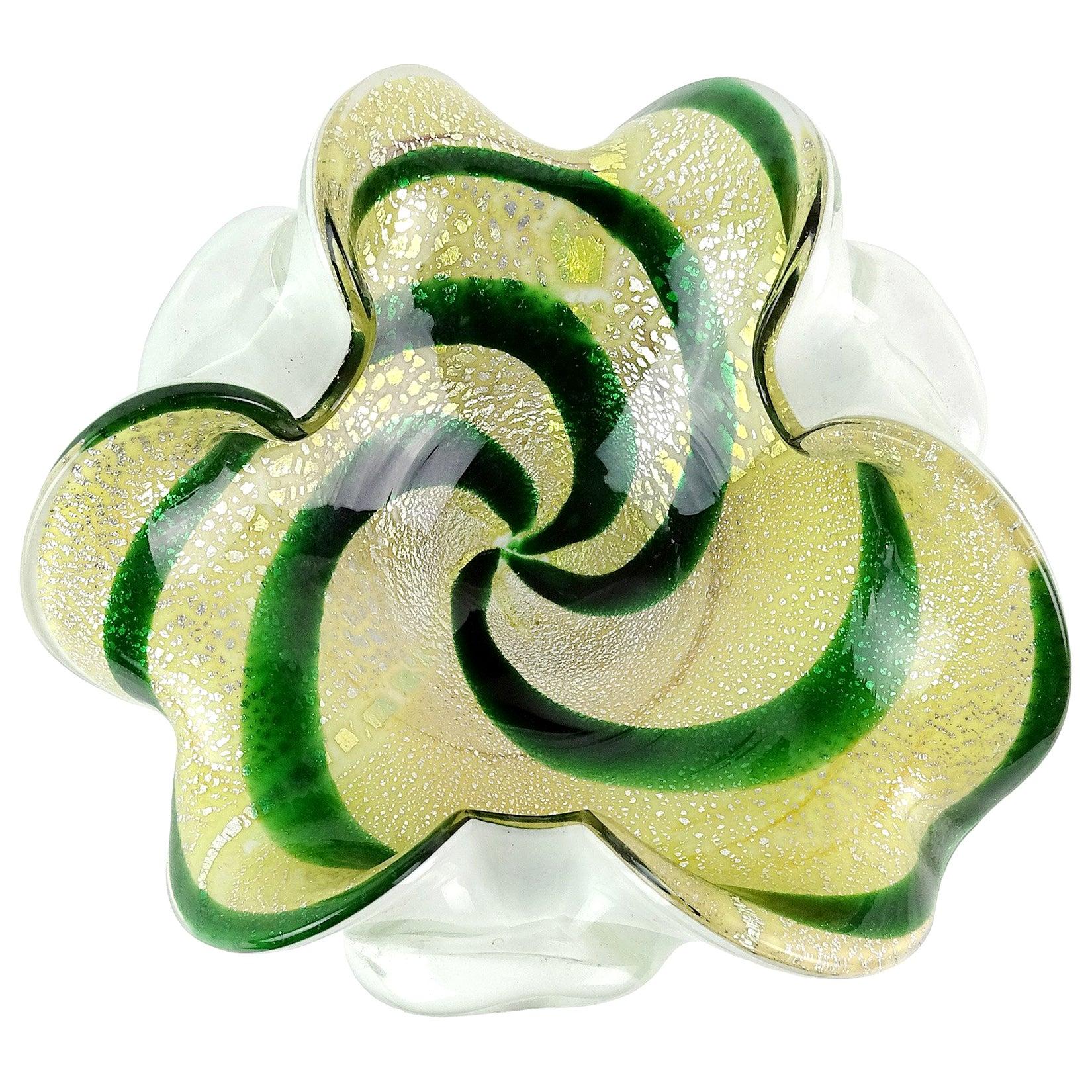 Murano Green Swirl Yellow Silver Leaf Italian Art Glass Flower Shape Bowl