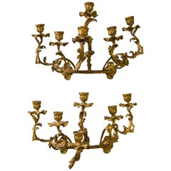 Pair of Crescent Shaped 6-Light Sconces