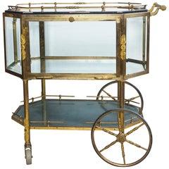Brass and Glass Rolling Bar Cart
