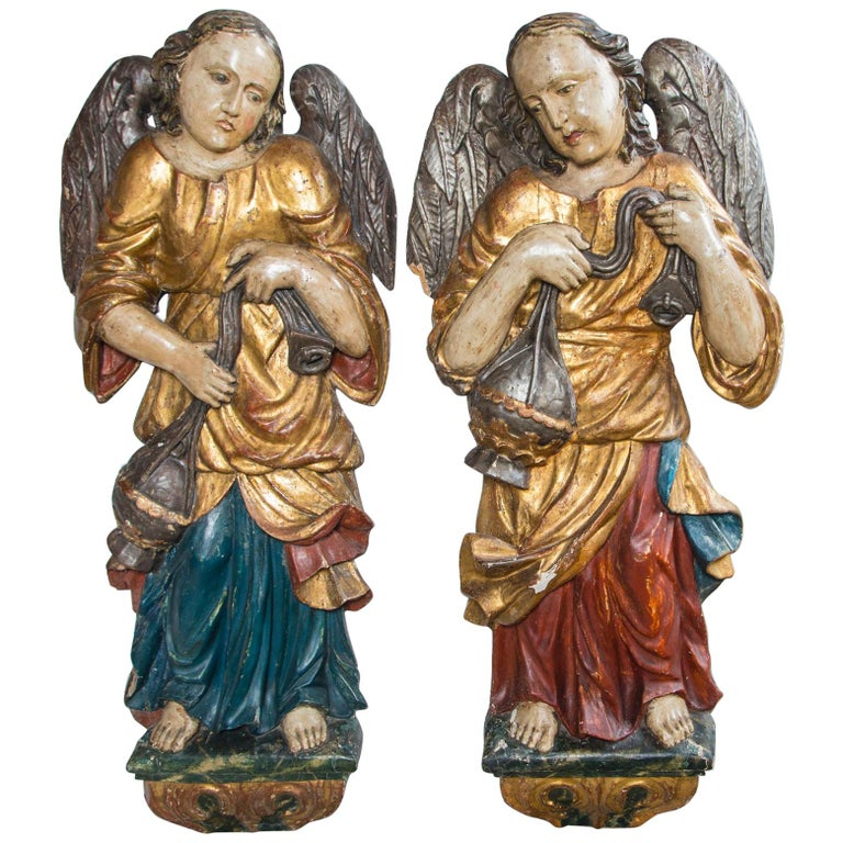 Early Pair Of Polychromed Carved Wood Angels