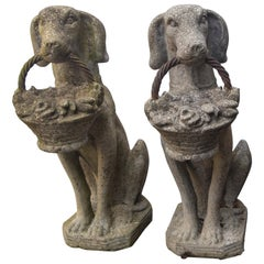 Pair of Cast Concrete Seated Dogs
