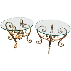 Pair of Hollywood Regency Gold Gilt Italian Iron and Glass End or Side Tables