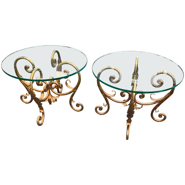Pair of Round Italian Gilt Metal and Glass Top Side Tables For Sale