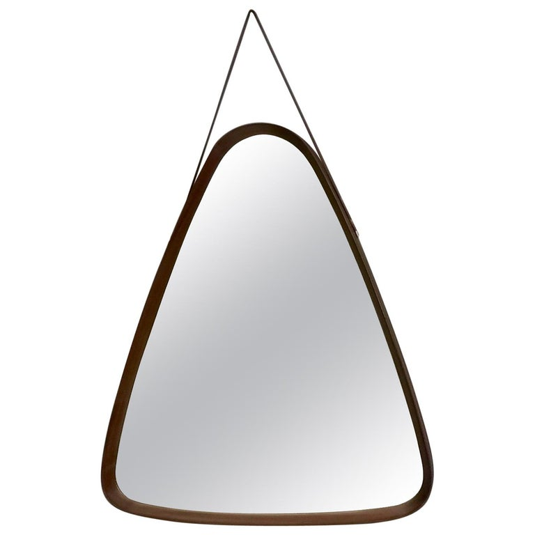 Triangular Wall Mirror with Wooden Frame and a Leather Hook, Italy, 1960s For Sale