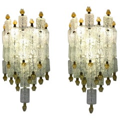 Pair of Barovier & Toso Glass Blocks with Gold Tulip Sconces, 1940
