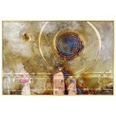 Mid-Century Modern Framed Copper Metal Etched Artwork Signed Dale Clark, 1980s