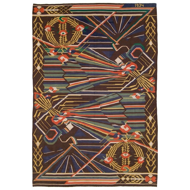 Vintage Romanian Flat-Weave Rug For Sale