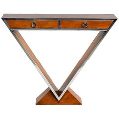 Midcentury Teak and Chrome Console with Triangular Base