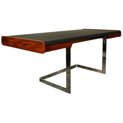 Ste. Marie and Laurent Rosewood and Chrome Cantilevered Desk
