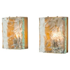 Two pairs of Brass & Crystal Glass Wall Sconces By Max Ingrand for Fontana Arte