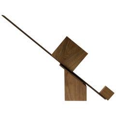 Behzad Haghiri Architectural Modern Hand Made Walnut Sculpture