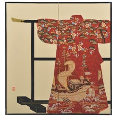 Japanese Large Contemporary Red Gilded Folding Screen, Silk Raised Kimono