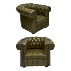 Pair of Vintage Green Chesterfield Club Chairs
