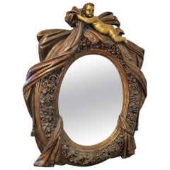 Large Italian Gilt Cherub or Putti Mirror
