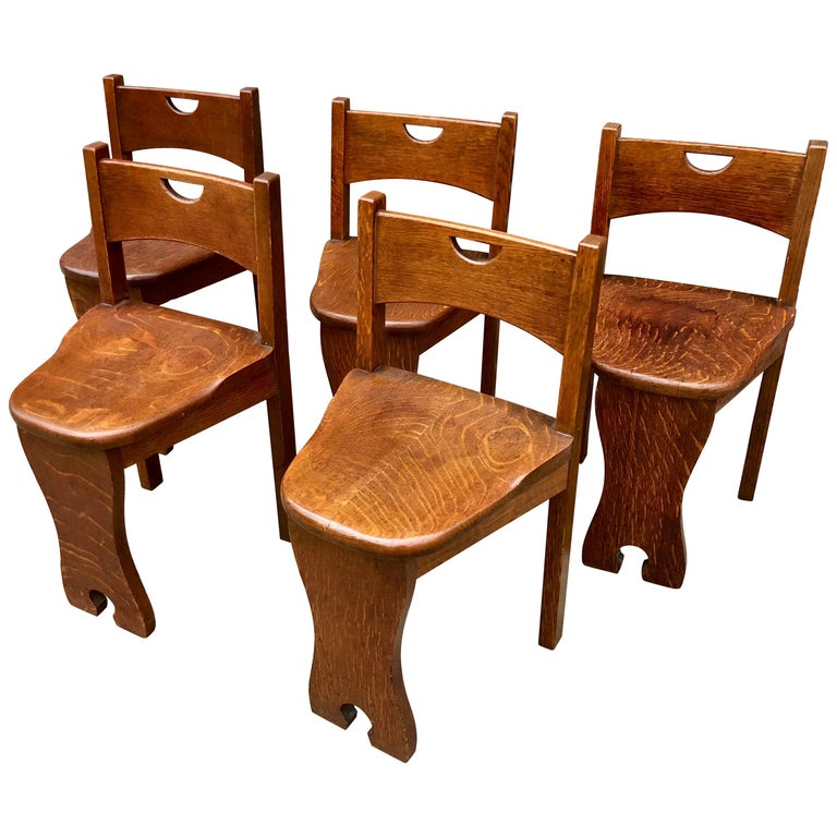 Five Oak Arts and Crafts Children's Stool/Chairs For Sale