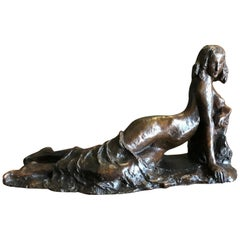 Art Deco 1910 of a Reclining Nude Woman by Marnix D'harveloose Bronze Sculpture
