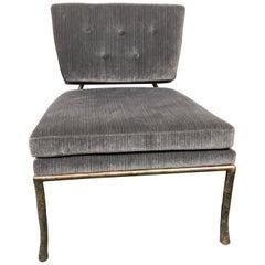 Bernhardt Grey Velvet Lounge Chair with Metal Branch Frame