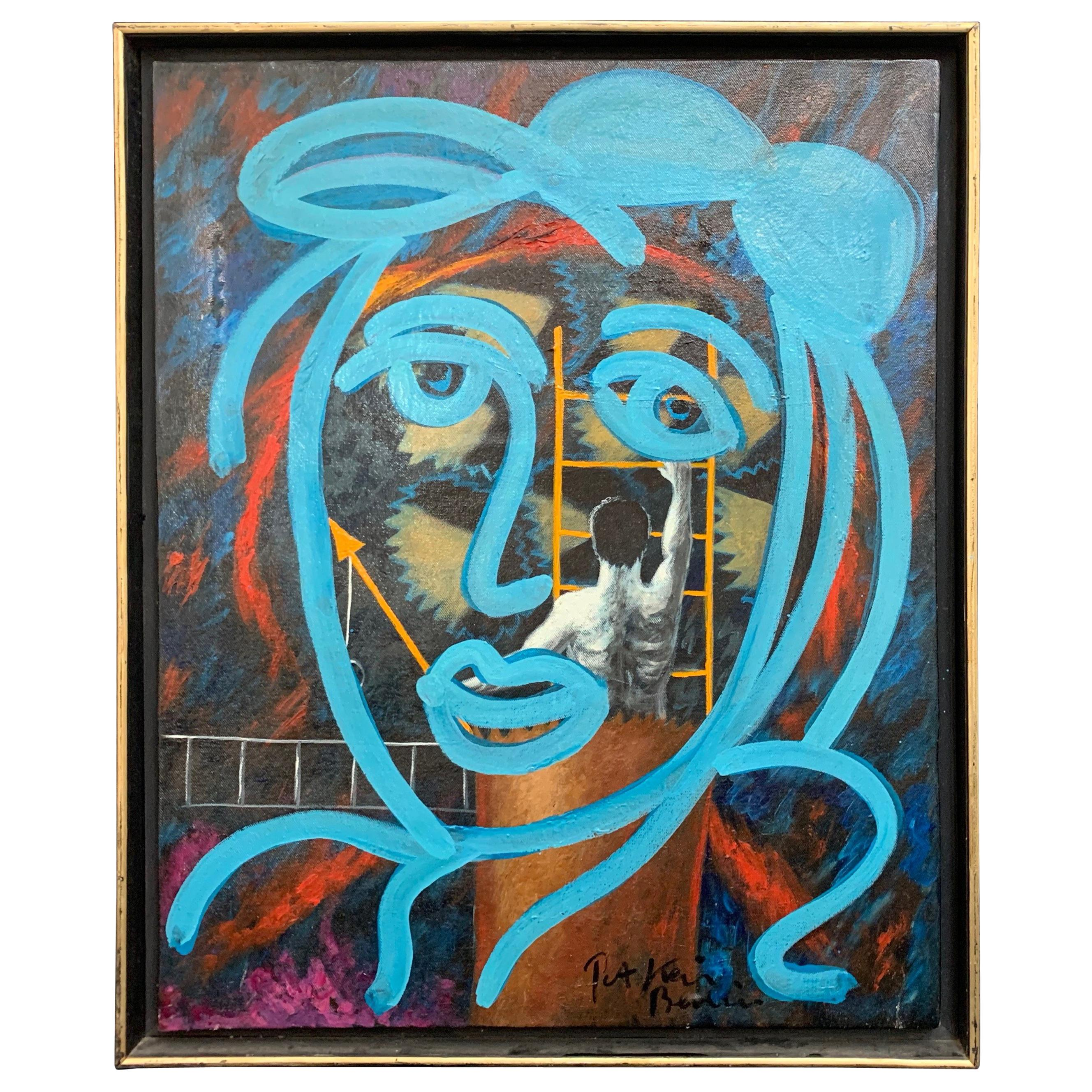 Peter Keil Expressionist Oil Portrait Painting, Framed