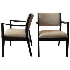 Pair of Ebonized Walnut Arm Chairs by George Reinoehl for Stow Davis