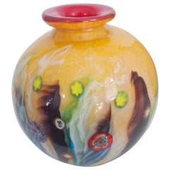 Modernist Italian Murano Mille Fiori 'Orb' Glass Vase by Fratelli Toso