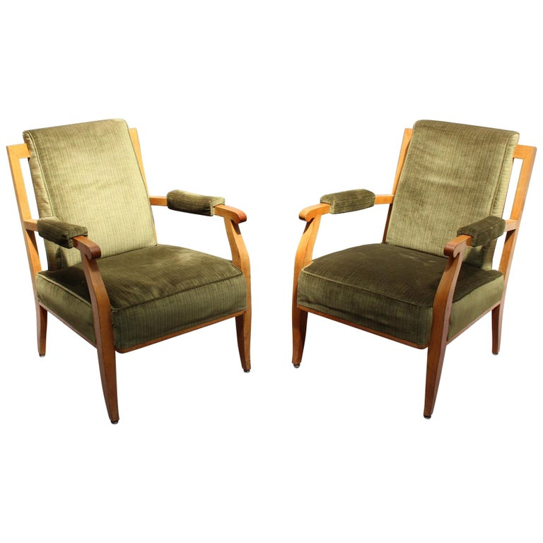 Pair of Fine French Art Deco Cherry Armchairs by Jules Leleu For Sale
