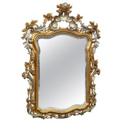Carved French Louis XV Silver and Gold Wooden Painted Mirror