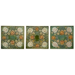 One of the 64 Antique Glazed Art Nouveau Tiles, circa 1920