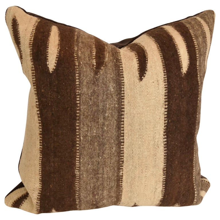 Custom Pillow by Maison Suzanne, Cut from a Vintage Wool Moroccan Berber Rug For Sale