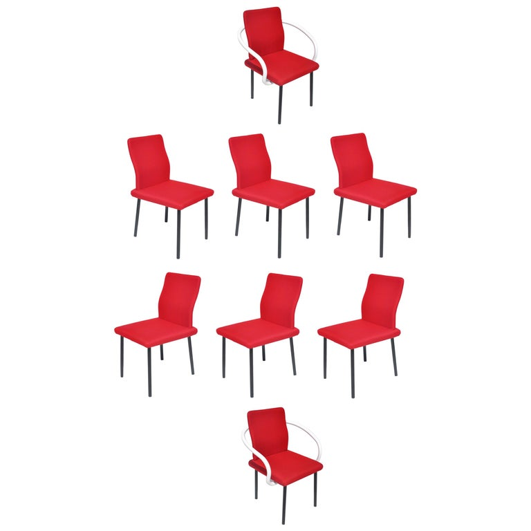 Set of Eight Mandarin Dining Chairs Designed by Ettore Sottsass for Knoll  For Sale