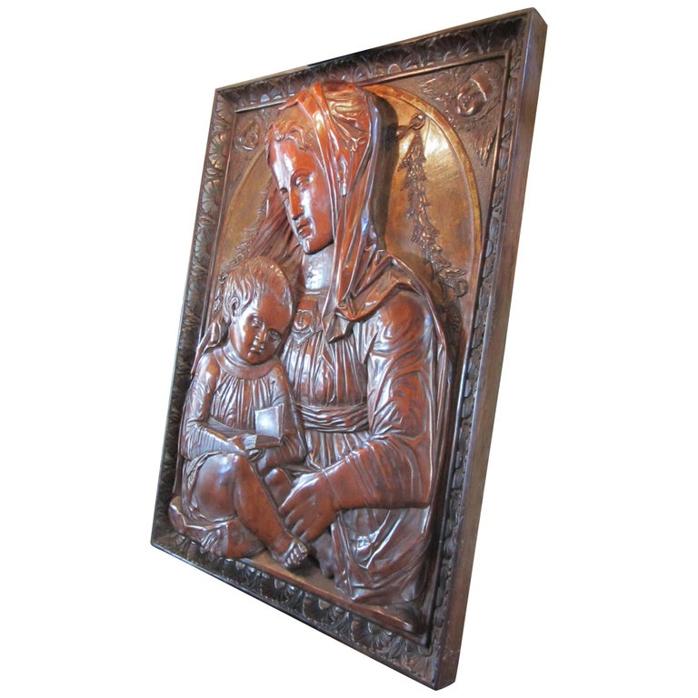 Carved Fruitwood Plaque of Virgin and Child Madonna, after Donatello Sculpture For Sale